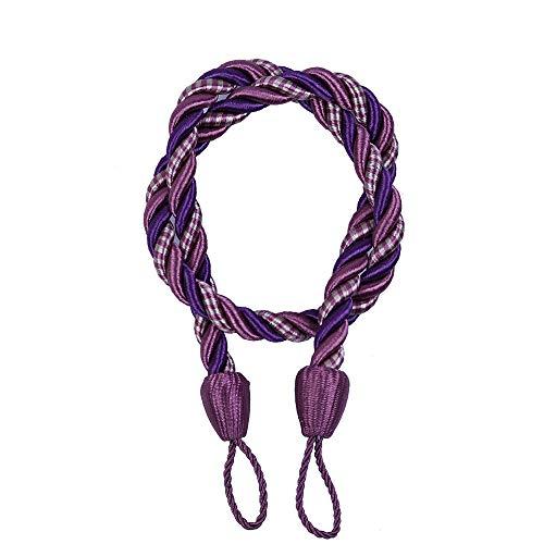 YRD TECH Garden Curtain Tassel Lashing for Window Curtain Cord Buckle Tiebacks Braided Tie Backs (Purple) from YRD TECH