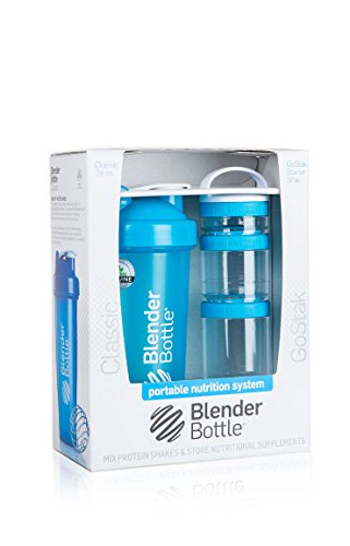 BlenderBottle Combo-Pack: (1) 28 Oz Classic Bottle + (1) GoStak Starter 3PAK (Aqua)