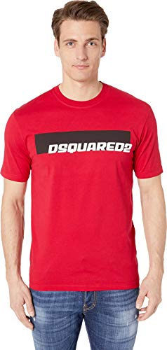 DSQUARED2 Men's Moto Logo Stud Fit T-Shirt Red Large
