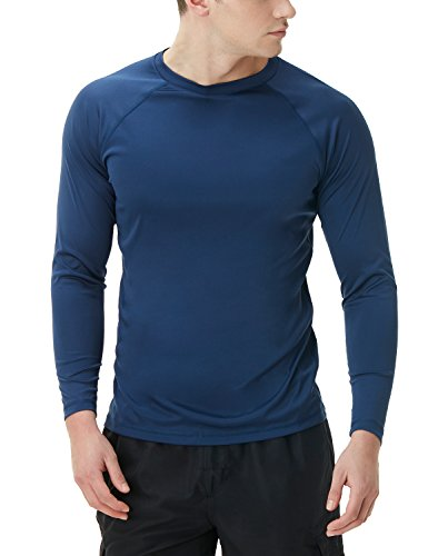 TSLA TM-MSS03-NVY_Large Men's UPF 50+Swim Shirt Loose-Fit Swim Long Sleeve Tee Rashguard Top MSS03