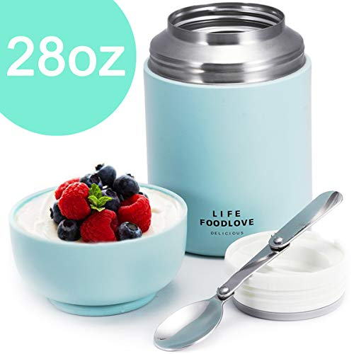Thermos Food Jar Insulated Lunch Container 28 oz Stainless Steel Vacuum Bento Lunch Box for Kids Adult with Folding Spoon for School Office Picnic Travel Outdoors Blue ()