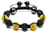Sunspot Shambala Bracelet | Yellow and Black Shamballa Bracelet | Crystal Bangle Bracelet | Handmade Beaded Bracelet (By Bagati Crysto)