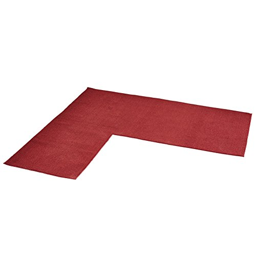 L Shaped Berber Corner Skid-Resistant Floor Hallway Kitchen Runner Rug, Burgundy