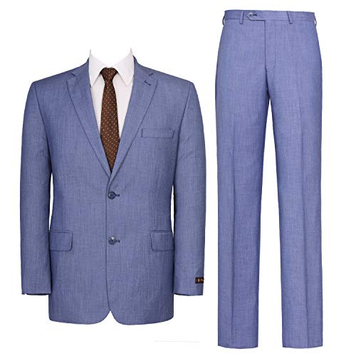 P&L Men's Two-Piece Classic Fit Single Breasted Suit Blazer Tux & Flat Front Trousers Light Blue