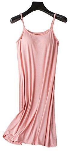 Slip Pink Full (Vocni Sleepwear Womens Nightgown Full Slip Lounge Dress with Built-in Shelf Bra,Pink,US L-Label 2XL)