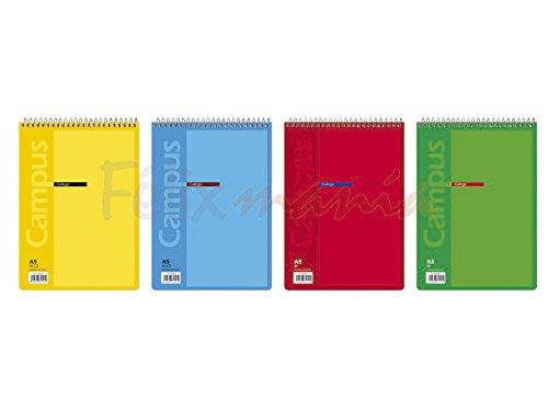 10x Bloc Cuaderno Espiral en Parte Superior Campus A5 80 Hojas 60gr Cuadr/ícula 4mm