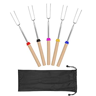 Ajmyonsp Marshmallow Roasting Sticks with Wooden Handle Extendable Forks Telescoping Smores Skewers for Campfire Firepit and Sausage BBQ, 32 Inch