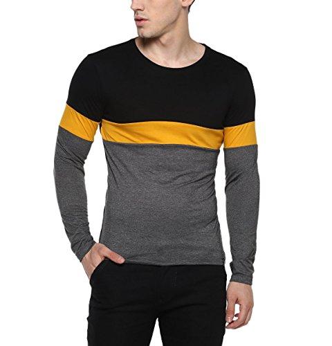 Urbano Fashion Men's Black, Yellow, Grey Round Neck Full Sleeve Cotton T-Shirt