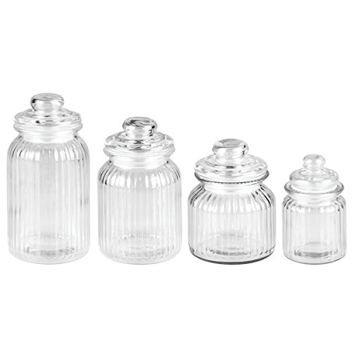 InterDesign York Glass Vanity Canister Jars for Cotton Balls, Swabs, Cosmetic Pads-Pack of 3, Clear 68140