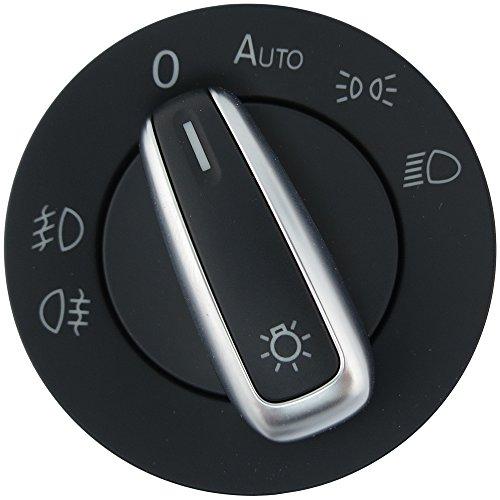 Standard European Headlight Switch Auto - Brushed Aluminum Trim 3C8941431A XSH -
