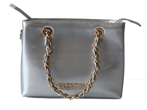 Valentino Tasche ICON VBS1GJ05VSTD Argento Damen Handtasche Schultertasche Umhängetasche Grau (18 x 15 x 7,5 cm)