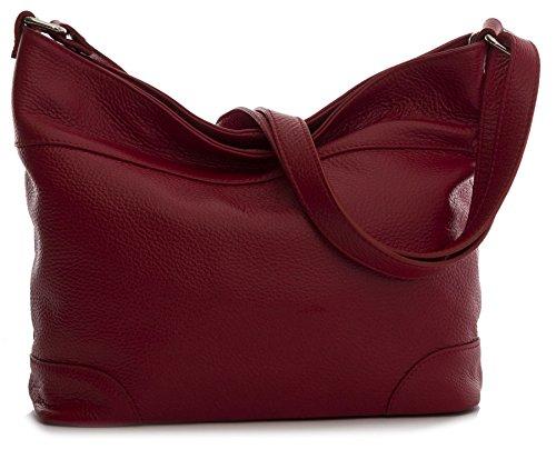 Big Handbag Shop - Bolso de tela de piel auténtica para mujer Talla única gris oscuro