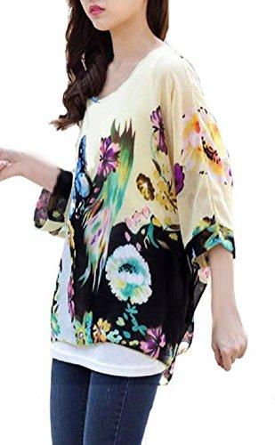 Camiseta Manga Murcielago Mujer Boho Blusa Estampadas Flores Top Gasa Tunicas Verano Pareos de Playa Bikini Cover up - Landove patrón 10