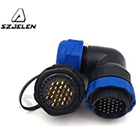 SZJELEN SD28 2Pin~26Pin Flanged Elbow Waterproof IP68 28MM Panel Mount Circular Aviation Cable Connector (26-Pin)