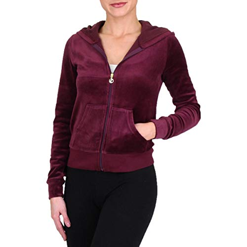 (Juicy Couture Roberston Womens Velour Hoodie Jacket Purple Size M)