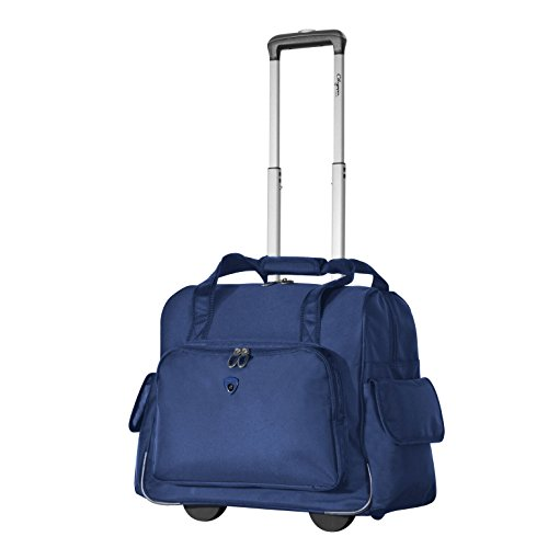 Olympia Deluxe Fashion Rolling Overnighter (Navy w/ Black)