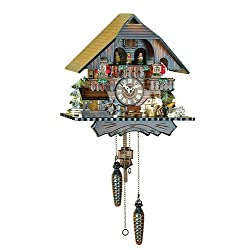 Quartz Cuckoo Clock Black forest house with music, moving wood-cutter, turning dancers and mill-wheel TU 442 QMT