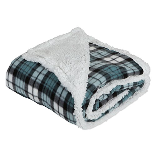 J & M Home Fashions Plaid Fleece Plush Throw Blanket, 50
