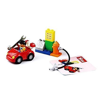 BrickLand Large Brick Building Set, 13PCS. Blazing Gas Station Toy Set Red | Item no. 103
