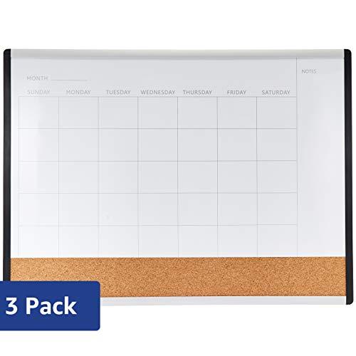 "AmazonBasics 3 in 1 combo board, Plastic/Aluminum Frame, 17"" x 23"", 3 Pack"