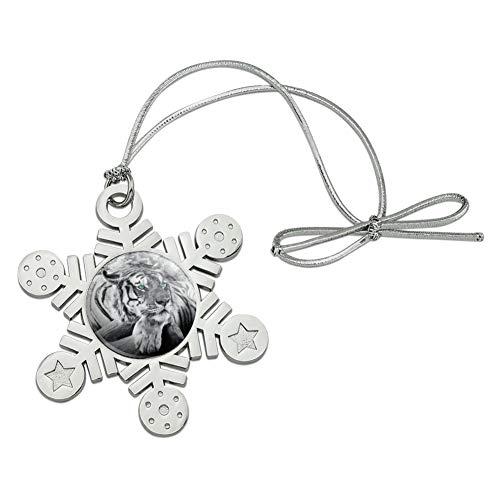 Graphics and More Black White Tiger Blue Green Eyes Metal Snowflake Christmas Tree Holiday Ornament (Snowflakes White Metal)