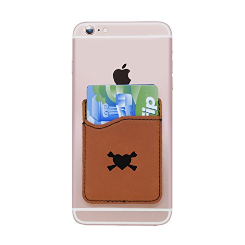 (Modern Goods Shop Brown Self-Adhesive Wallet with Laser Etched Hearts and Crossbones Design - Credit Card Pocket for 3 Cards - Fits Most Smartphones)