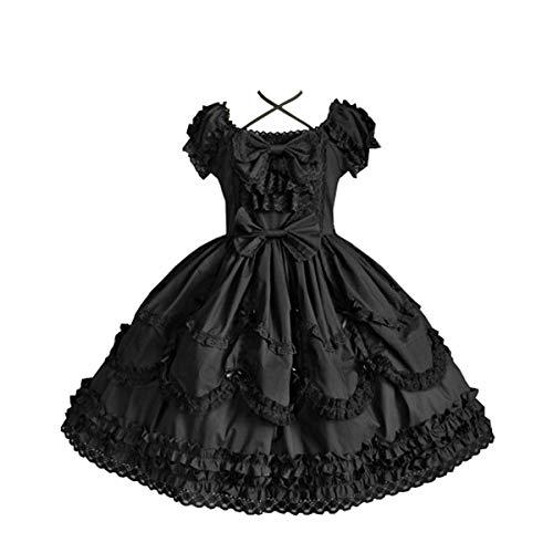 Nuoqi Ladies Lolita Dress Court Sweet Princess Bubble Skirt Anime Black Cosplay Costume -