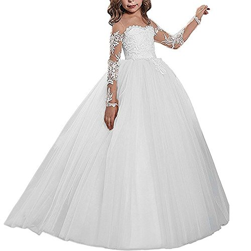 - Kalos Dress Shop Lace Bodice Tulle Puffy Flower Girl Dress Lace Appliques Girls First Communion Dress Pageant Gowns(White 8)