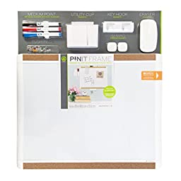 U Brands Pin-It Magnetic Dry Erase Board Deluxe Value Pack, 20 x 16 Inches, White Frame