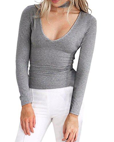 StyleDome Mujer Camiseta Blusa Mangas Largas Casual Elegante Oficina Cuello Profundo Pico Gris