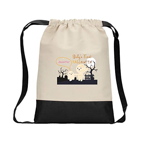 Custom Text Baby's First Halloween Mummy Graveyard Cotton Canvas Color Drawstring Bag Backpack - Black ()