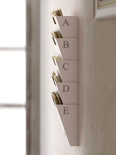 White Wall Mount Steel Vertical File Holder Organizer Rack