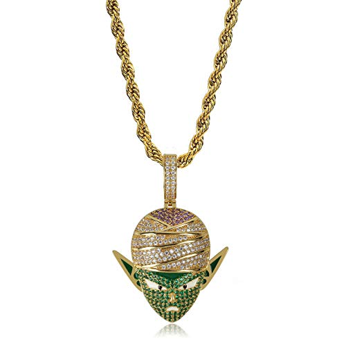 TOPGRILLZ  Hip Hop Dragon Ball Cartoon Piccolo Frieza Goku Cell 14K Gold Plated Iced Out Pendant Necklace Chain for Men Kids (Gold Piccolo) ()