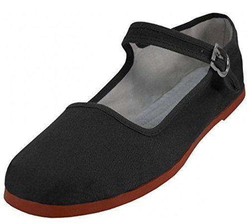 Womens Cotton Mary Jane Shoes Ballerina Ballet Flats Shoes (7, Black 114) (Womens Mary Black Jane)