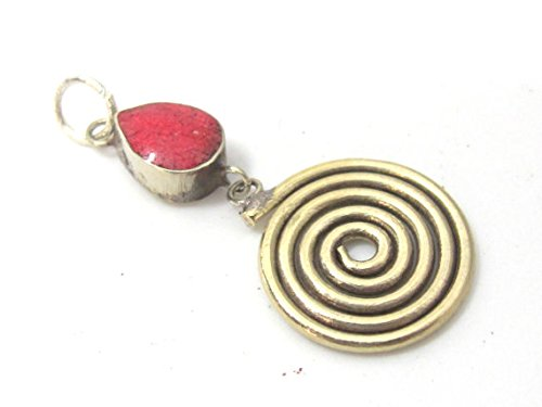 (1 charm - Tibetan silver spiral teardrop design dangle charm pendant with coral inlay - PM521B)