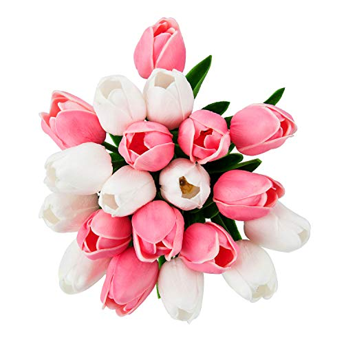 PiXiu-XP 20 pcs Real-Touch Artificial Tulip Flowers Arrangement Wedding Bouquets Home Room Office Centerpiece Party Wedding Decor (White+Pink)