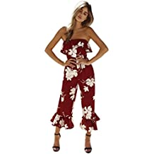 RAISINGTOP Women Ladies Clubwear Summer Bodycon Party Jumpsuit Romper Off Shoulder Trousers Ruffle Pants Bell Bottom