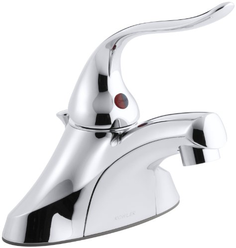 Ground Joints Lever Handle (KOHLER K-15583-5P-CP Coralais Single-Control Centerset Lavatory Faucet with Pop-Up Drain, Ground Joints, 1.5 gpm Spray and 5