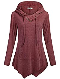 Womens Sweatshirt Pullover Hoodies Tunic Long Sleeve V Neck Pocket Top