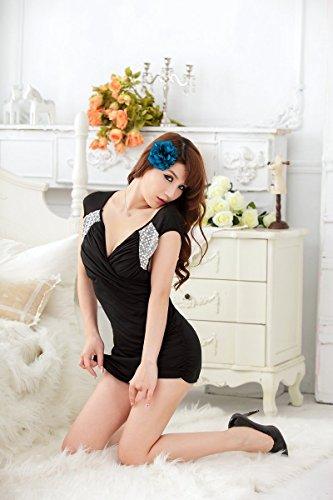 Shangrui Mujer Disfraces Pectoral Cruz Negro Manera Adelgazan Funcionamiento de la Ropa de Cosplay Lencería Mordaz W621 Negro