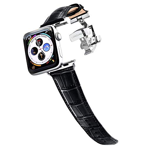 Longvadon Men's Watch Band - Compatible with Apple Watch Series 1, 2, 3 (42mm) & Series 4 (44mm) - Genuine Top Grain Leather - Caiman Series, Midnight Black with Silver Details