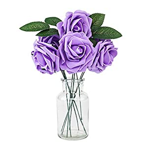 "Flagman_Shop 2.8""50pcs Artificial Foam Flowers Foam Roses for Wedding Arrangement Purple New 14"