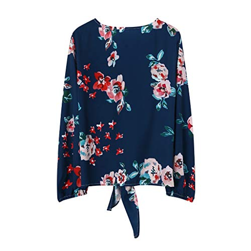 LEKODE Women T-Shirt Fashion Floral Printed Soft Comfort Long Sleeve Boho Knot Pretty - Sweatshirt Embroidered Navy Seal