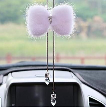 Herostore Bow Knot Plush Ornaments Car Diamond Pendant Plush