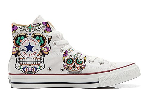 CONVERSE Personalizzate All Star Sneaker unisex (Scarpa artigianale) WHITE - Teschio WITH CROSS