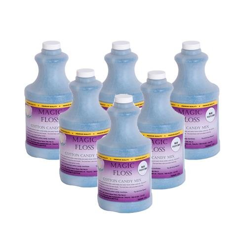 4 lbs Magic Floss Sugar in Easy Pour Bottle (Set of 6) Flavor: Blue Raspberry