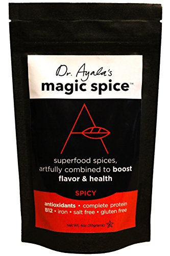 - Dr. Ayala's Magic Spice, (Spicy) Superfood Seasoning, Flavor Booster, Turmeric, Nutritional Yeast, All Purpose Seasoning, B12, Antioxidants, Salt-Free, For Roasting, Rub, Broth, No MSG, Non GMO