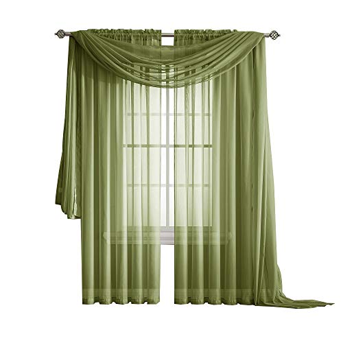 Warm Home Designs Pair of Standard Length Sage Green Sheer Window Curtains. Each Voile Drape is 56 X 84 Inches in Size. Great for Kitchen, Living, Kids Room. 2 Fabric Panels Included. Color: Sage 84 ()