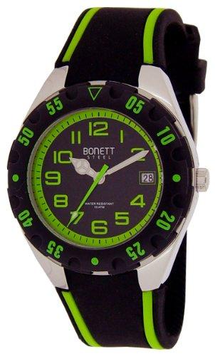 Bonett Jungen-Armbanduhr Analog Quarz Silikon Kalender 10 bar 1287G