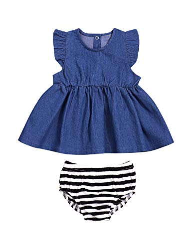 - Kids Baby Girl Clothes Ruffle Sleeveless Blue Denim Smocked Dress for Girls Striped Bloomers Toddler Clothes for Girls Set (18-24M/100)